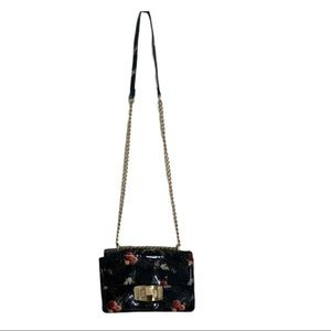 Zara Patent Leather Floral Chain Bag